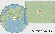 Savanna Style Location Map of Bareli, hill shading
