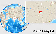 """Shaded Relief Location Map of the area around 22°53'22""""N,79°58'29""""E"""