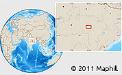 """Shaded Relief Location Map of the area around 22°53'22""""N,80°49'29""""E"""