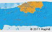 Political 3D Map of Güira de Melena