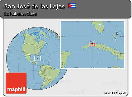 Free Savanna Style Location Map Of San José De Las Lajas