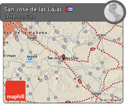 Free Shaded Relief Map Of San José De Las Lajas