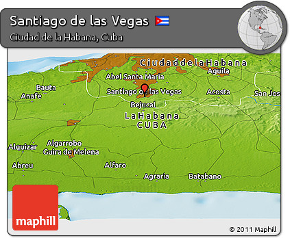 Free Physical Panoramic Map Of Santiago De Las Vegas