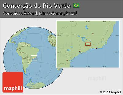Savanna Style Location Map of Conceição Do Rio Verde