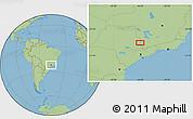 "Savanna Style Location Map of the area around 22°3'23""S,46°40'29""W"