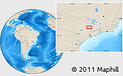 """Shaded Relief Location Map of the area around 22°3'23""""S,46°40'29""""W"""