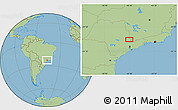 "Savanna Style Location Map of the area around 22°33'23""S,46°40'29""W"