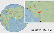 Savanna Style Location Map of Gāndhīnagar, hill shading