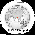 Outline Map of Mizoram, rectangular outline