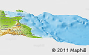 """Physical Panoramic Map of the area around 23°53'5""""N,109°34'29""""W"""