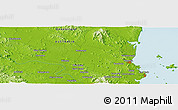 """Physical Panoramic Map of the area around 23°3'19""""S,150°31'30""""E"""