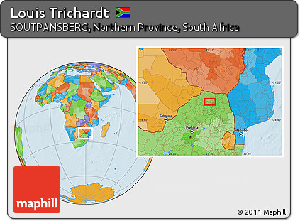 Free Political Location Map of Louis Trichardt
