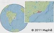 Savanna Style Location Map of Cunhambebe, hill shading