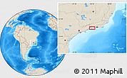"""Shaded Relief Location Map of the area around 23°3'19""""S,44°7'30""""W"""
