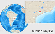 """Shaded Relief Location Map of the area around 23°3'19""""S,46°40'29""""W"""