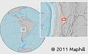 """Gray Location Map of the area around 23°3'19""""S,67°55'30""""W, hill shading"""
