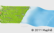 "Physical Panoramic Map of the area around 23° 33' 11"" S, 47° 40' 29"" E"