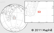 """Blank Location Map of the area around 23°33'11""""S,49°22'30""""E"""