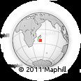 "Outline Map of the Area around 23° 33' 11"" S, 49° 22' 30"" E, rectangular outline"