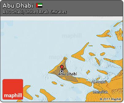 Political 3D Map of Abu Dhabi