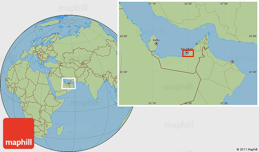 Savanna Style Location Map of Abu Dhabi