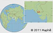 "Savanna Style Location Map of the area around 24°22'49""N,68°55'30""E"