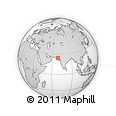 """Outline Map of the Area around 24° 22' 49"""" N, 68° 55' 30"""" E, rectangular outline"""