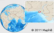 """Shaded Relief Location Map of the area around 24°52'30""""N,66°22'30""""E"""
