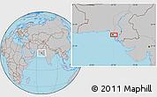 Gray Location Map of Karāchi