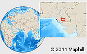 """Shaded Relief Location Map of the area around 24°52'30""""N,68°55'30""""E"""