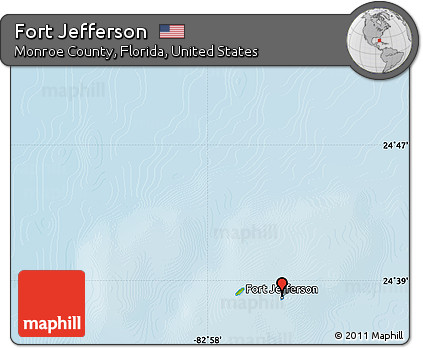 Physical Map Of Florida.Free Physical Map Of Fort Jefferson