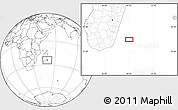 """Blank Location Map of the area around 24°2'59""""S,49°22'30""""E"""