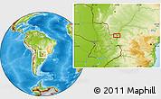 Physical Location Map of Salto del Guairá