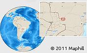 Shaded Relief Location Map of Salto del Guairá