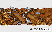"""Physical Panoramic Map of the area around 25°22'6""""N,100°22'30""""E"""