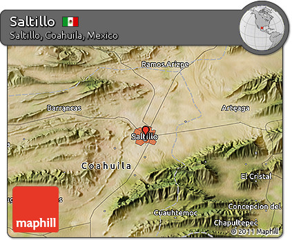 Free Satellite 3D Map of Saltillo