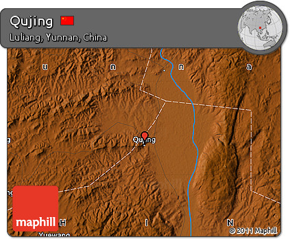 Free Physical Map Of Qujing - Qujing map