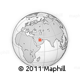 """Outline Map of the Area around 25° 22' 6"""" N, 50° 13' 30"""" E, rectangular outline"""