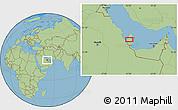 "Savanna Style Location Map of the area around 25°22'6""N,51°4'30""E"