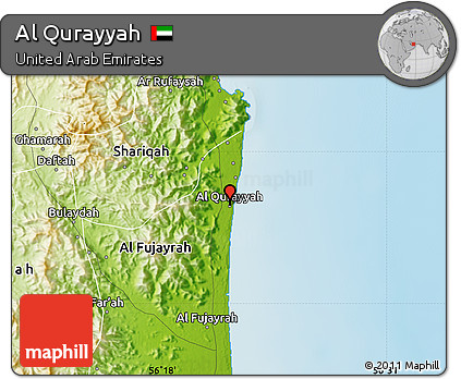 Free Physical Map of Al Qurayyah