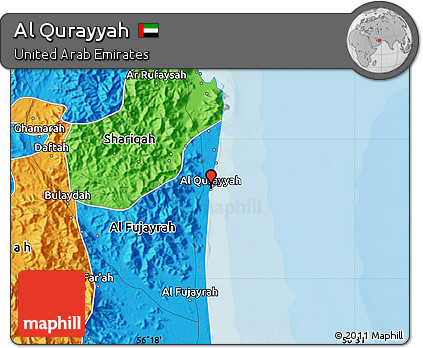 Free Political Map of Al Qurayyah
