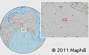 Gray Location Map of Jhānsi, hill shading