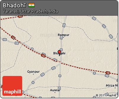 Free Shaded Relief Map of Bhadoh