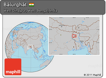 Free Gray Location Map Of Bālurghāt - Balurghat map