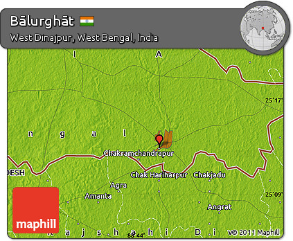 Free Physical Map Of Bālurghāt - Balurghat map