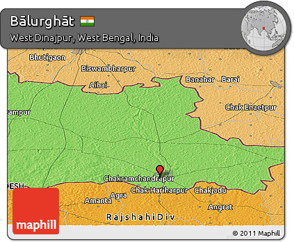 Free Political Panoramic Map Of Bālurghāt - Balurghat map