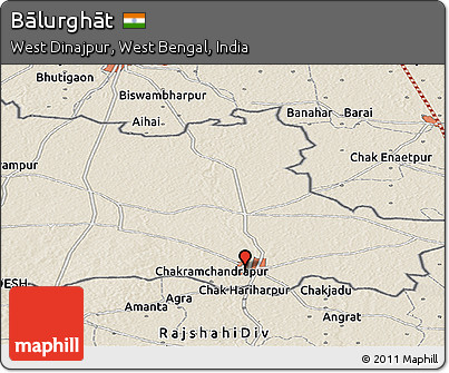Free Shaded Relief Panoramic Map Of Bālurghāt - Balurghat map