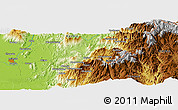 """Physical Panoramic Map of the area around 25°22'6""""N,97°49'29""""E"""
