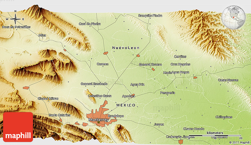 Physical 3D Map of Monterrey