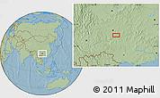 Savanna Style Location Map of Dashabo, hill shading